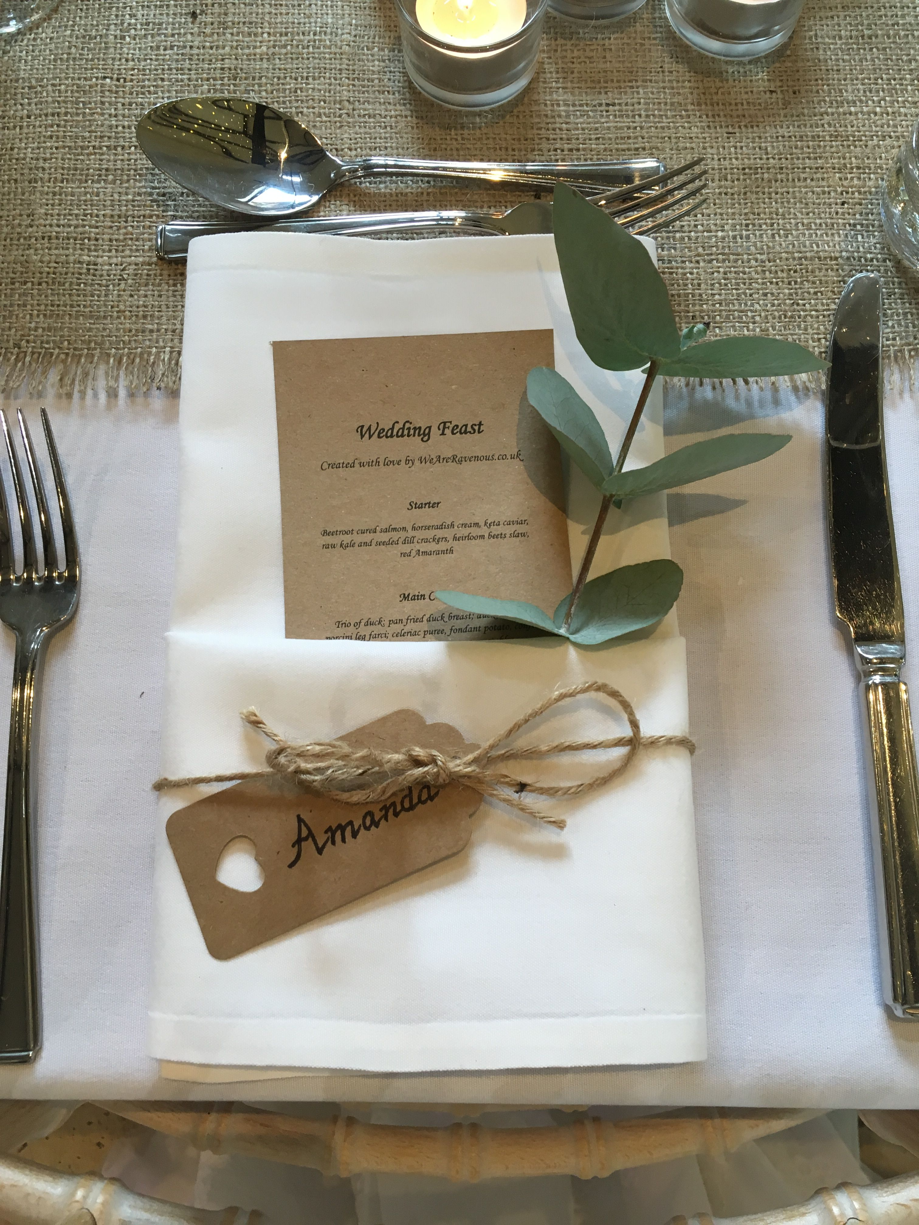 Bohemian / country style wedding place settings. Brown paper personalised menus and luggage tags are & Bohemian / country style wedding place settings. Brown paper ...