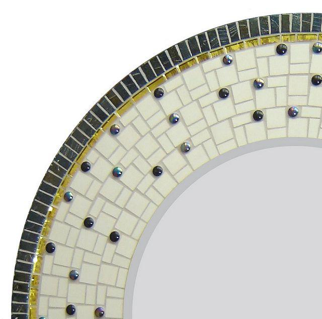 Black White Gold Closeup By Opus Mosaics Via Flickr Miroir Miroir Rond