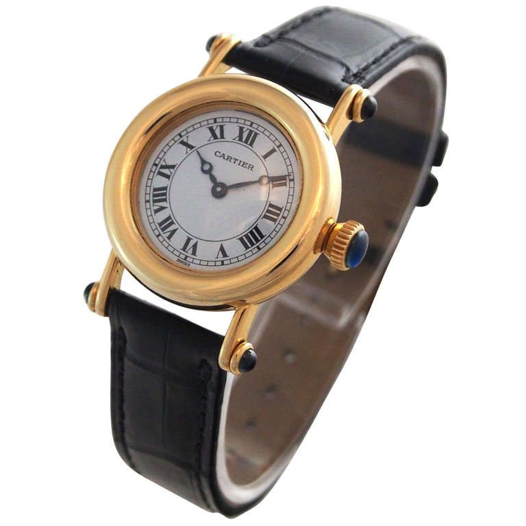 Cartier Lady's Yellow Gold Diablo Wristwatch | From a unique collection of vintage wrist watches at http://www.1stdibs.com/jewelry/watches/wrist-watches/