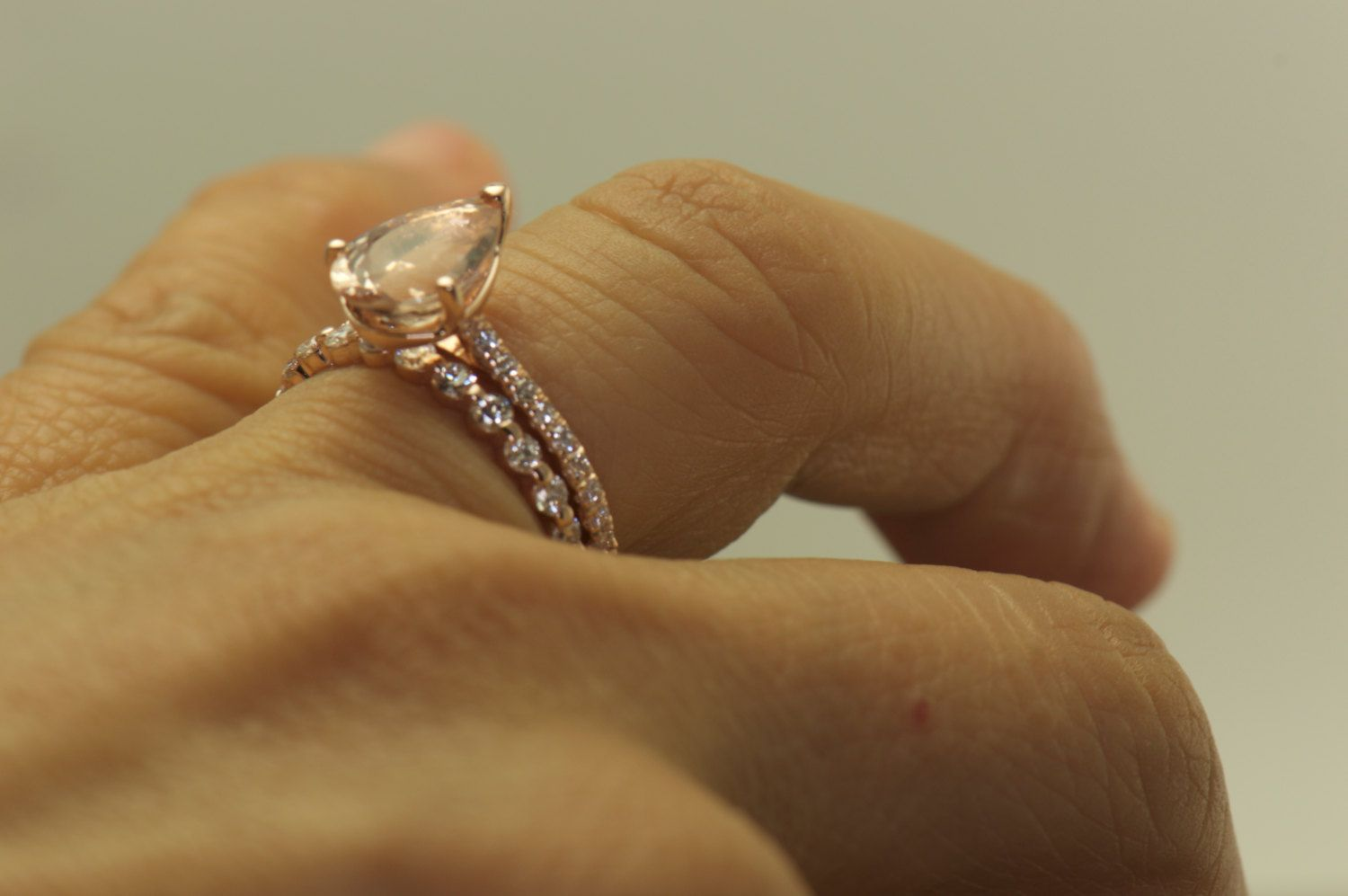 150ct Pear Shape Morganite Solitaire Engagement Ring & Single Shared Prong Diamond  Wedding Band In