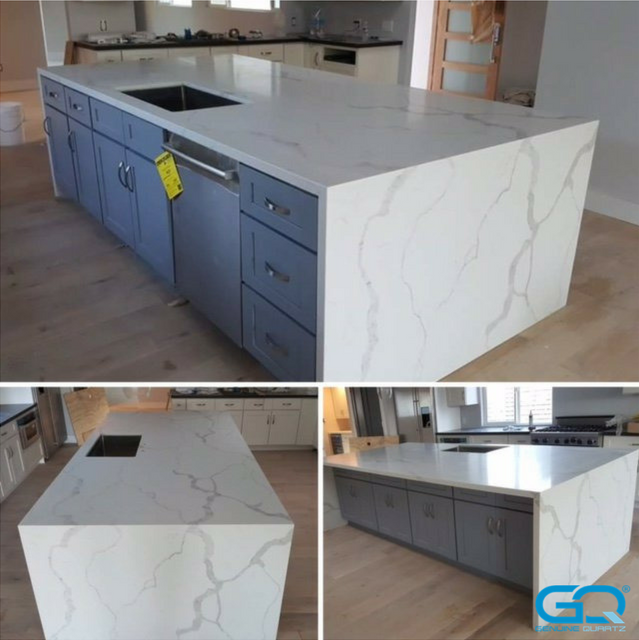 Waterfall Islands Made With Our Most Popular Calacatta Luna Slabs