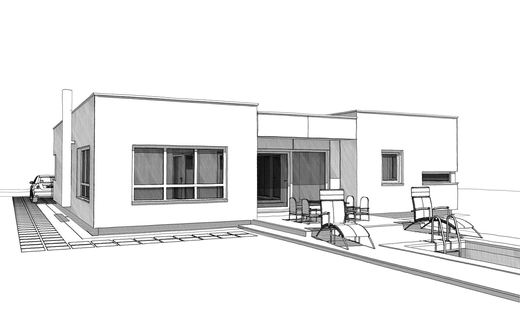 Bungalow Haus modern im Bauhausstil mit Innenhof