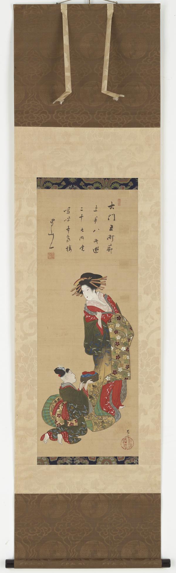 An Oiran being served by her kamuro  TYPE Hanging scroll MAKER(S) Artist: Ryūryūkyo Shinsai 柳々居辰斎 (Ukiyoe school, ca. 1764 - 1820)