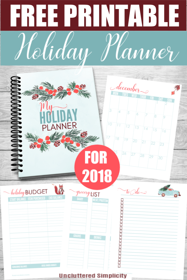 Free Printable Christmas Printables 2020 Free Printable Holiday Planner For 2020 | Organize & Declutter