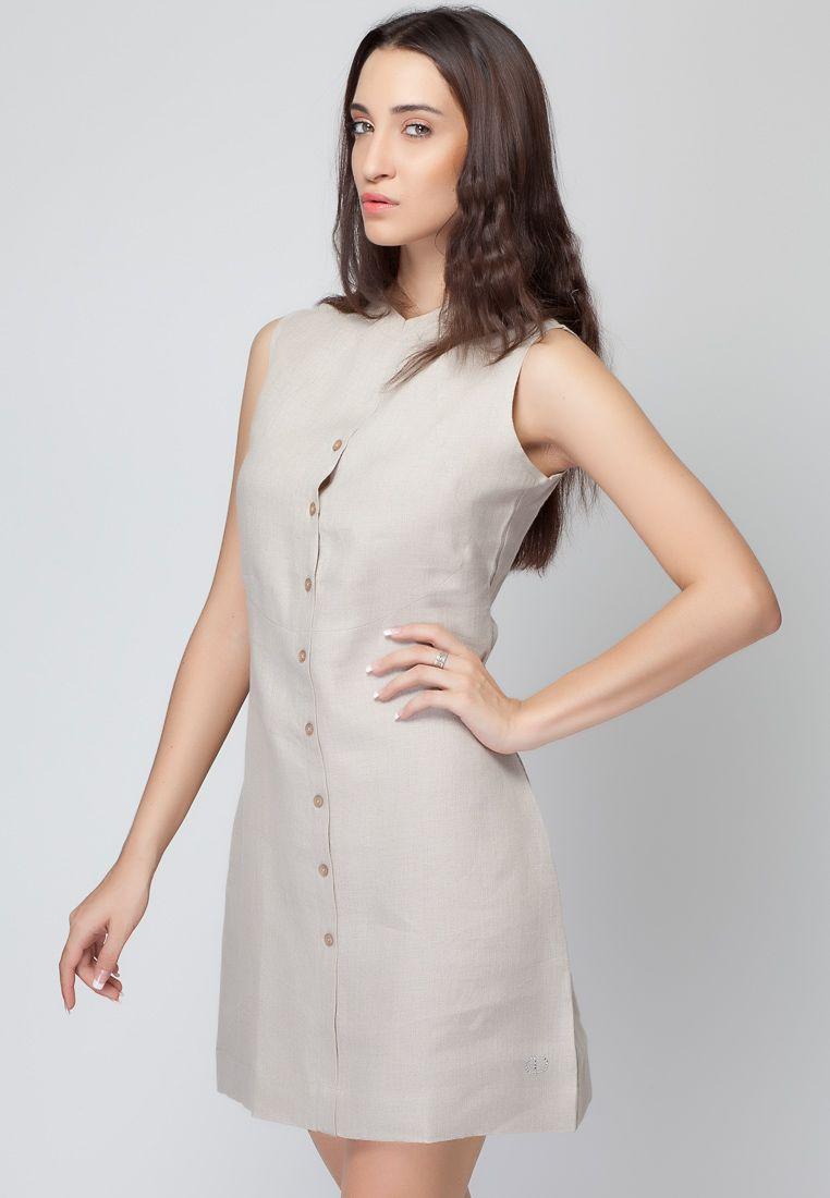 Sleeveless Beige Linen Dress  Mksp  Buy Women's Dresses Online In India   Jabong