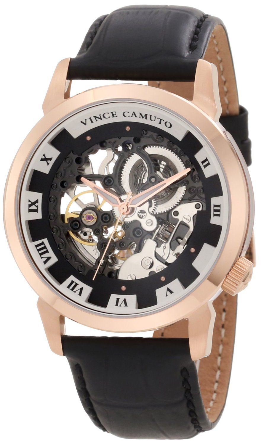 Vince Camuto Men S Vc 1007bkrg The Executive Rosegold Tone Self Wind Automatic Watch