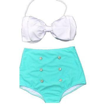 Womens Retro Bow Swimsuit Swimwear Vintage Pin up High Waist Bikini Set (M, Red)