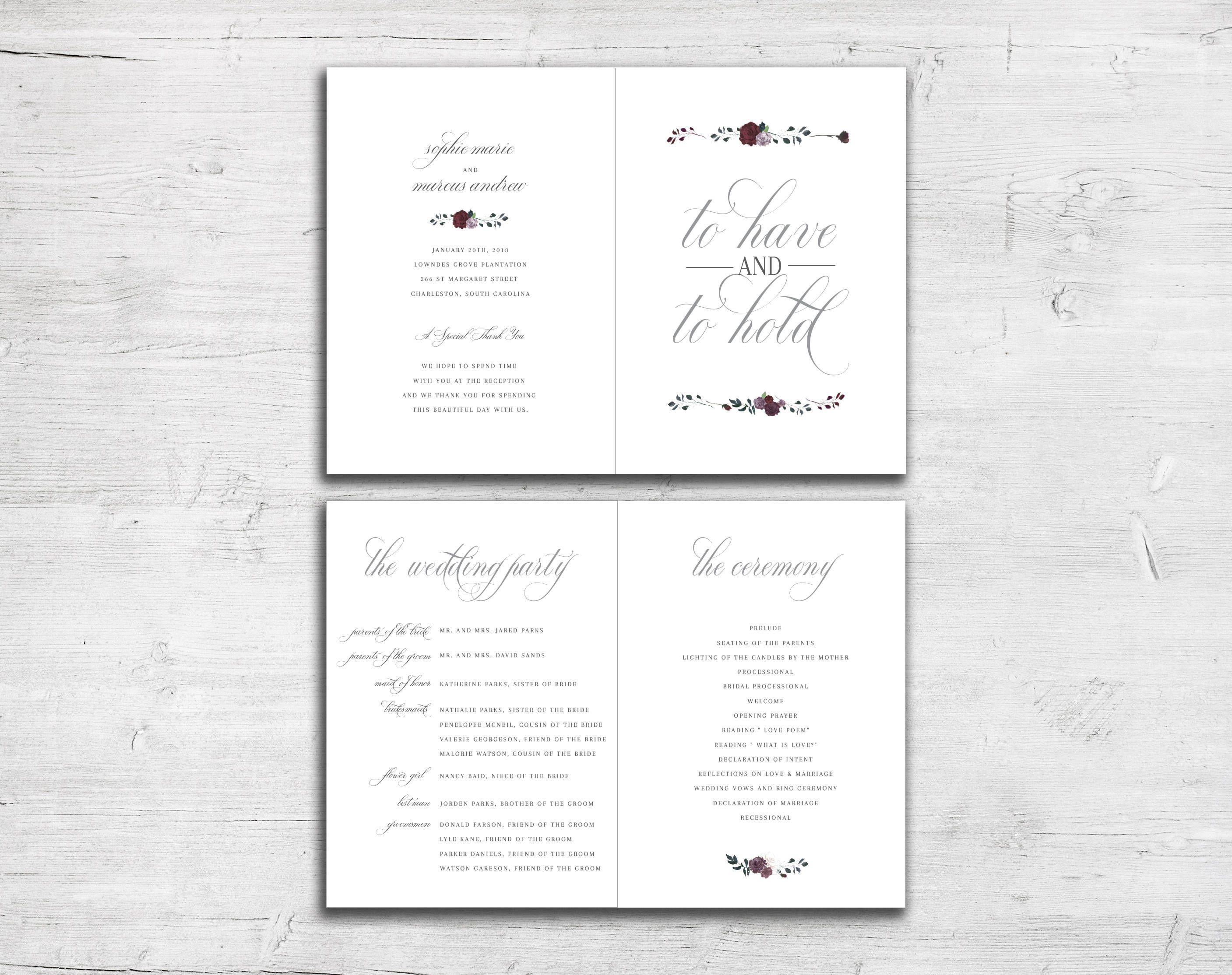 Floral Wedding Program - Spring Wedding - Summer Wedding - Plum and ...