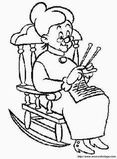 image result for grandma colouring pages - Grandma Coloring Pages