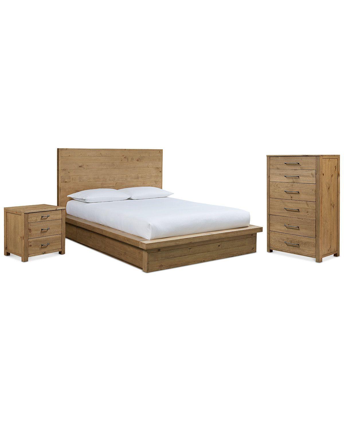 Abilene Storage Platform Bedroom Furniture, 3-Pc. Bedroom Set (Queen ...