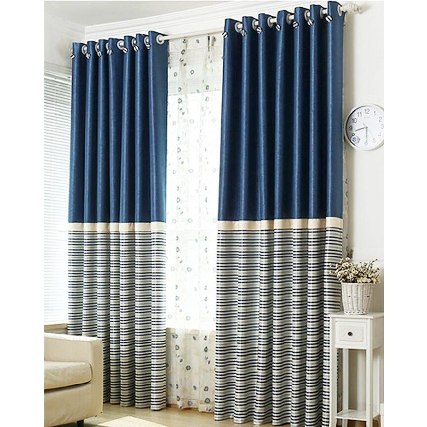 Brief Navy Blue Blackout Living Room Ready Made Striped Curtains In 2020 Blue Curtains Living Room Curtains Living Room Blue Striped Curtains