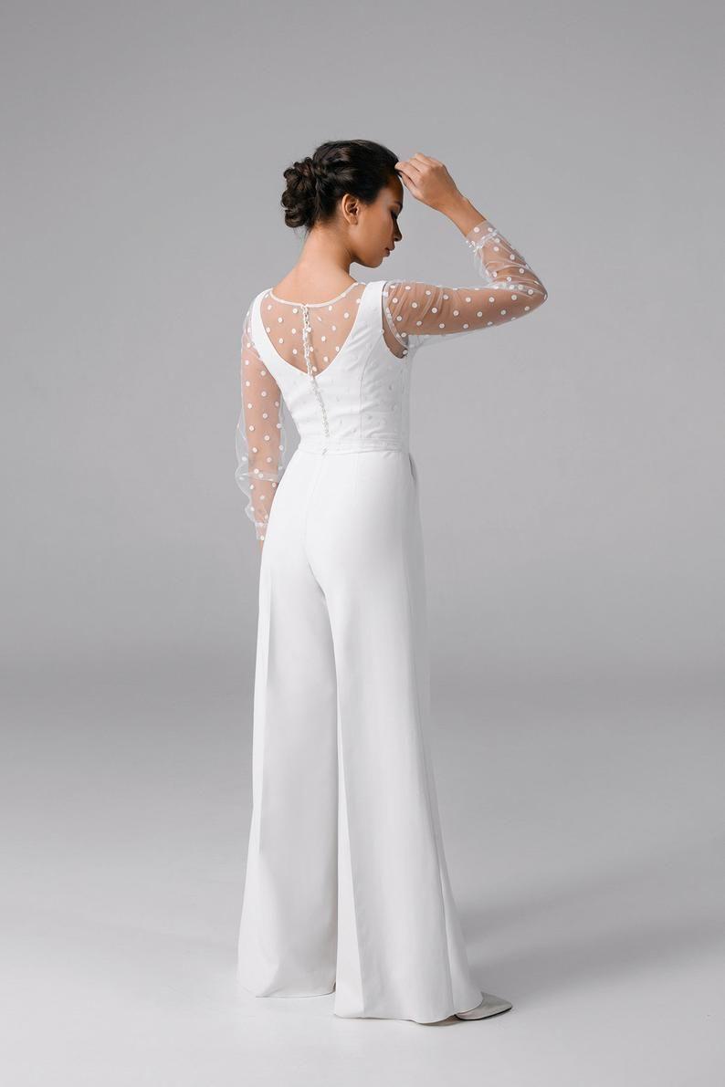Wedding Jumpsuit Bridal Jumpsuit Simple Wedding Jumpsuit Renata In 2020 Bridal Jumpsuit Wedding Jumpsuit Modest Wedding Dresses