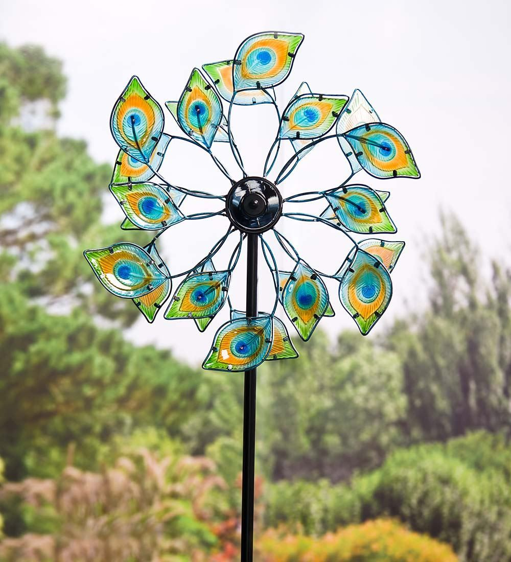 Glass peacock solar wind spinner decorative garden accents plow