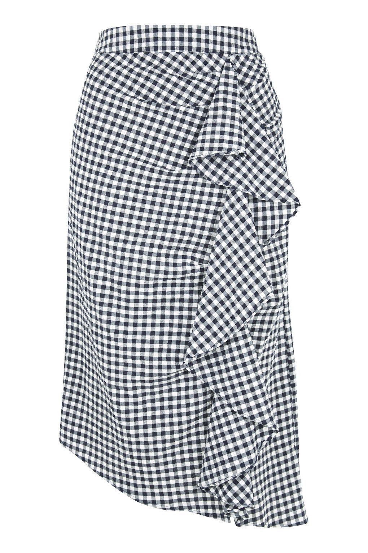 1c4f8aed91 Carousel Image 0 Gingham Skirt, Blue Gingham, Ruffle Skirt, Denim Skirt,  Ruffles