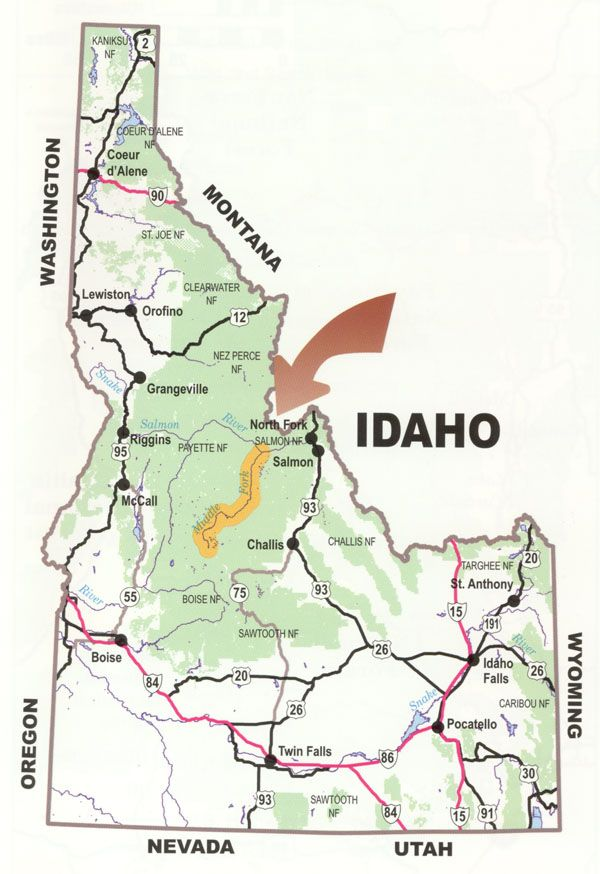 idaho wilderness areas map Midddle Fork Frank Church Wilderness Challis Idaho Salmon River idaho wilderness areas map