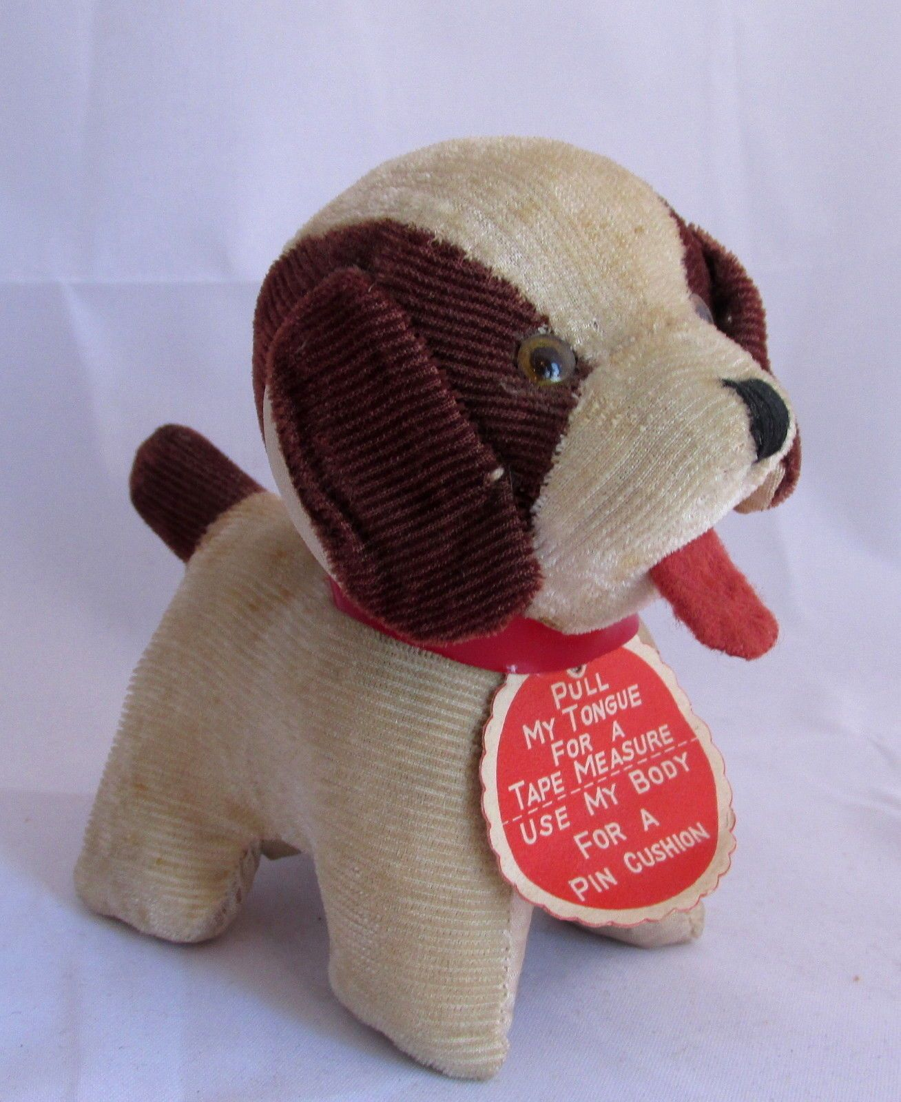Vintage Stuffed Animal Puppy Dog Sewing Pin Cushion Body Tape Measure Tongue | eBay