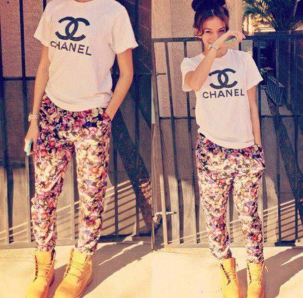 pants floral chanel t-shirt shoes : please can I have this t-shirt!!!!!!!
