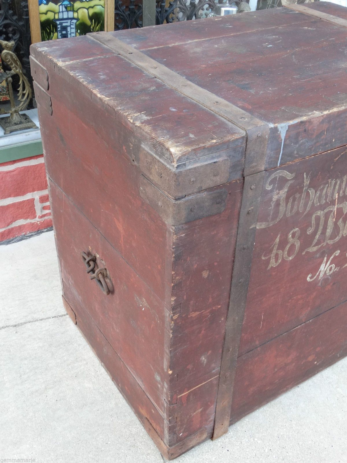 Antique Country Wood Planked Iron Chest Trunk 1855 Milwaukee Wi Pre Civil  War | eBay - Antique Country Wood Planked Iron Chest Trunk 1855 Milwaukee WI Pre