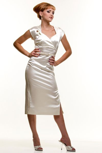 Stop Staring 1940s Style Ivory Satin Paris Dress