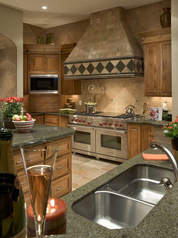 Rustic Tile Side By Side Ovens Under Huge Vent Hood Kitchen By