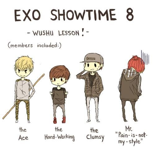Exo -  Martial Arts Students tao, suho, chanyeol and kris  Exo's Showtime Ep 8