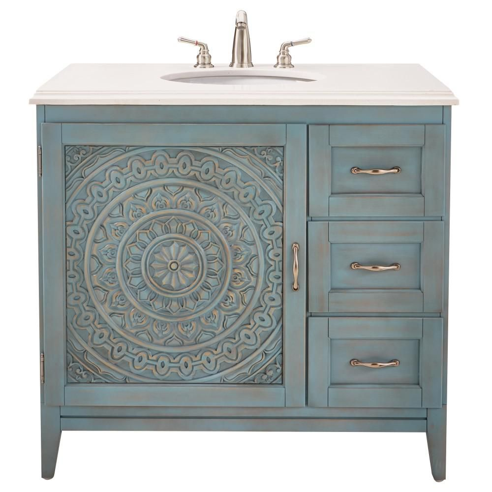 Home Decorators Collection Chennai 37 In. W Single Vanity In Blue Wash With  Engineered Stone Vanity Top In Crystal White With White Basin