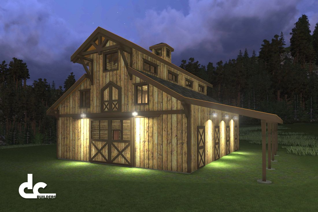 Horse barns with living quarters horse barn designs for Monitor style barn plans