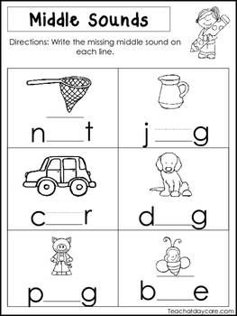 10 Middle Sounds Worksheets Preschool And Kindergarten Literacy