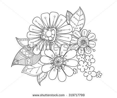 Doodle art flowers. Zentangle floral pattern. Hand drawn herbal ...