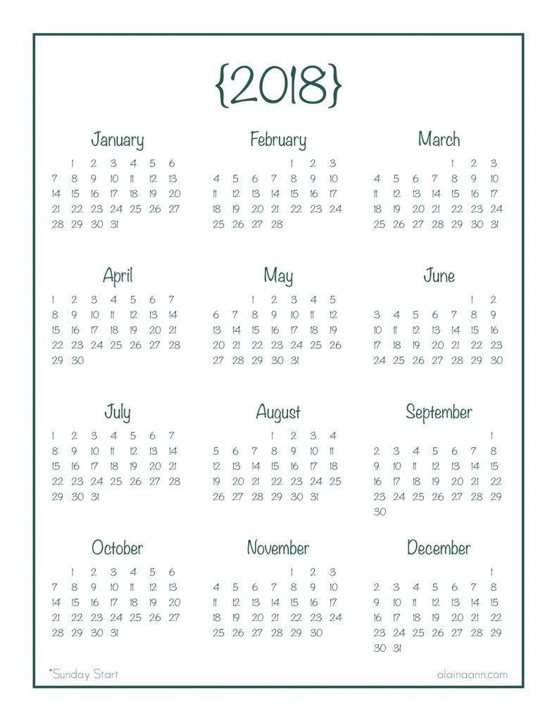 2018 year at a glance calendar free printable ordering for Day at a glance calendar template