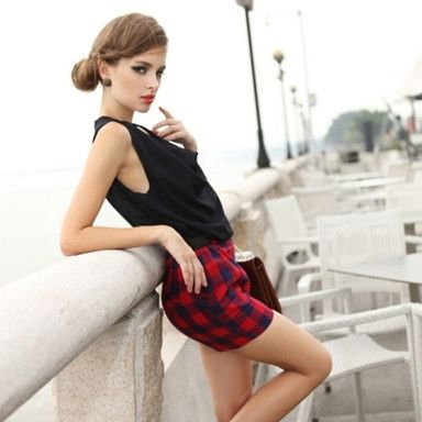 Plaid Sleeveless Spliced Shorts Jumpsuit Red Black