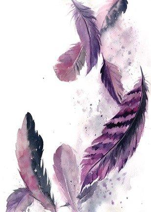 Purple Feathers Iii By Sophia Rodionov Grey Wall Art