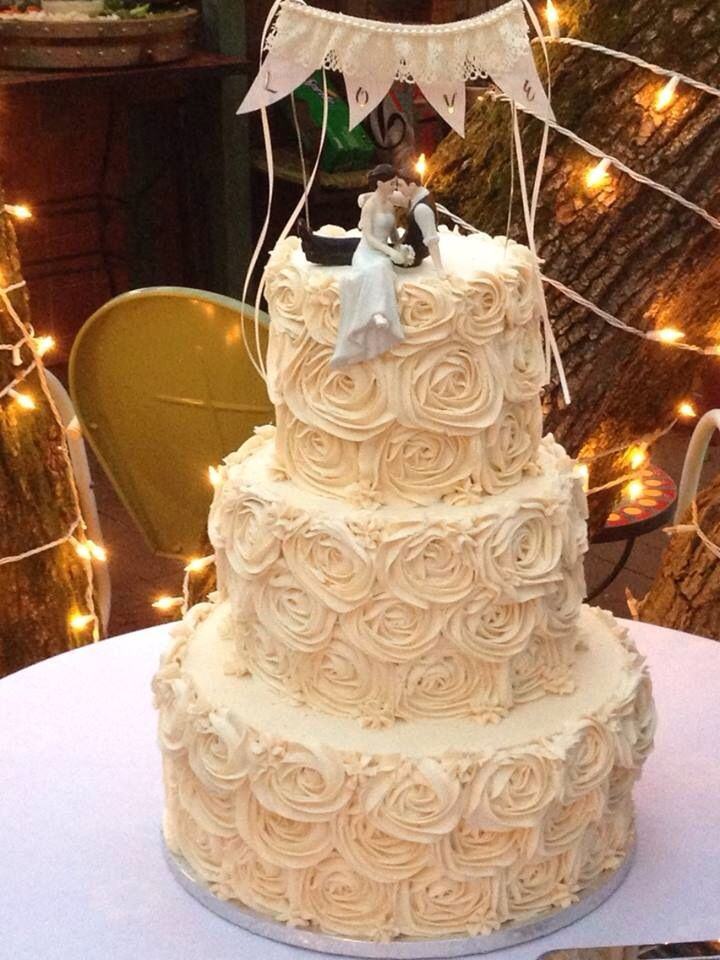 Red Velvet with white chocolate chips rustic wedding cake! It was ...