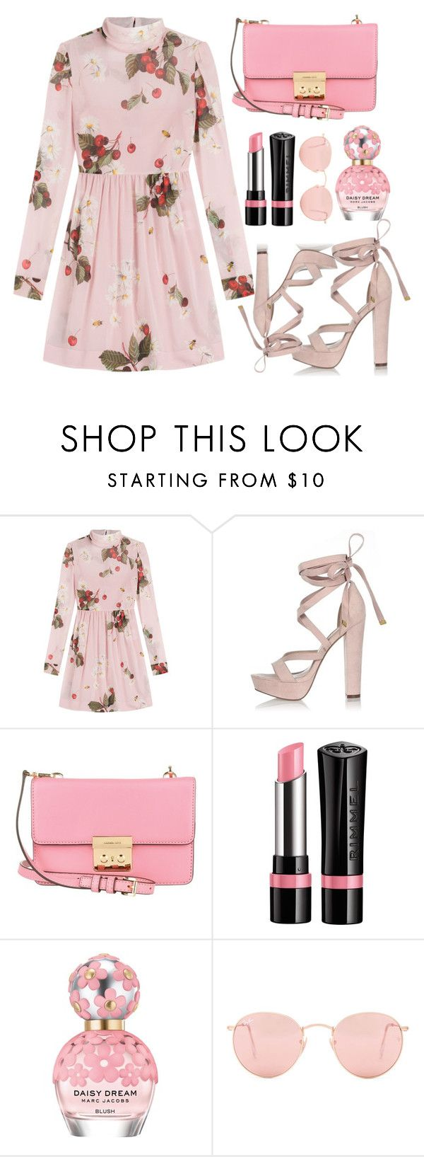 """""""Summer date"""" by nicolesynth ❤ liked on Polyvore featuring RED Valentino, River Island, Michael Kors, Rimmel, Marc Jacobs and Ray-Ban"""
