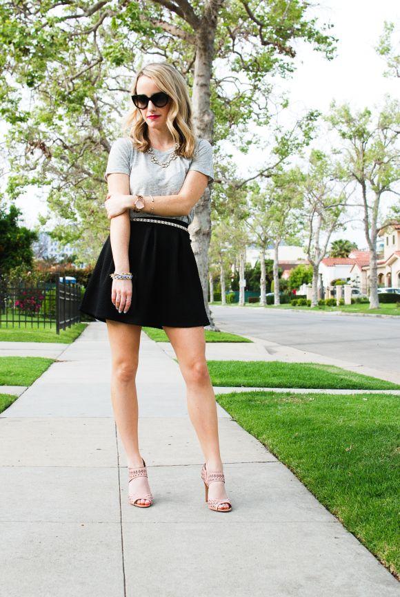 9d10ccfd32b Casual Chic: Sam Edelman Alva Heel , Grey Tee, and Circle Skirt ...