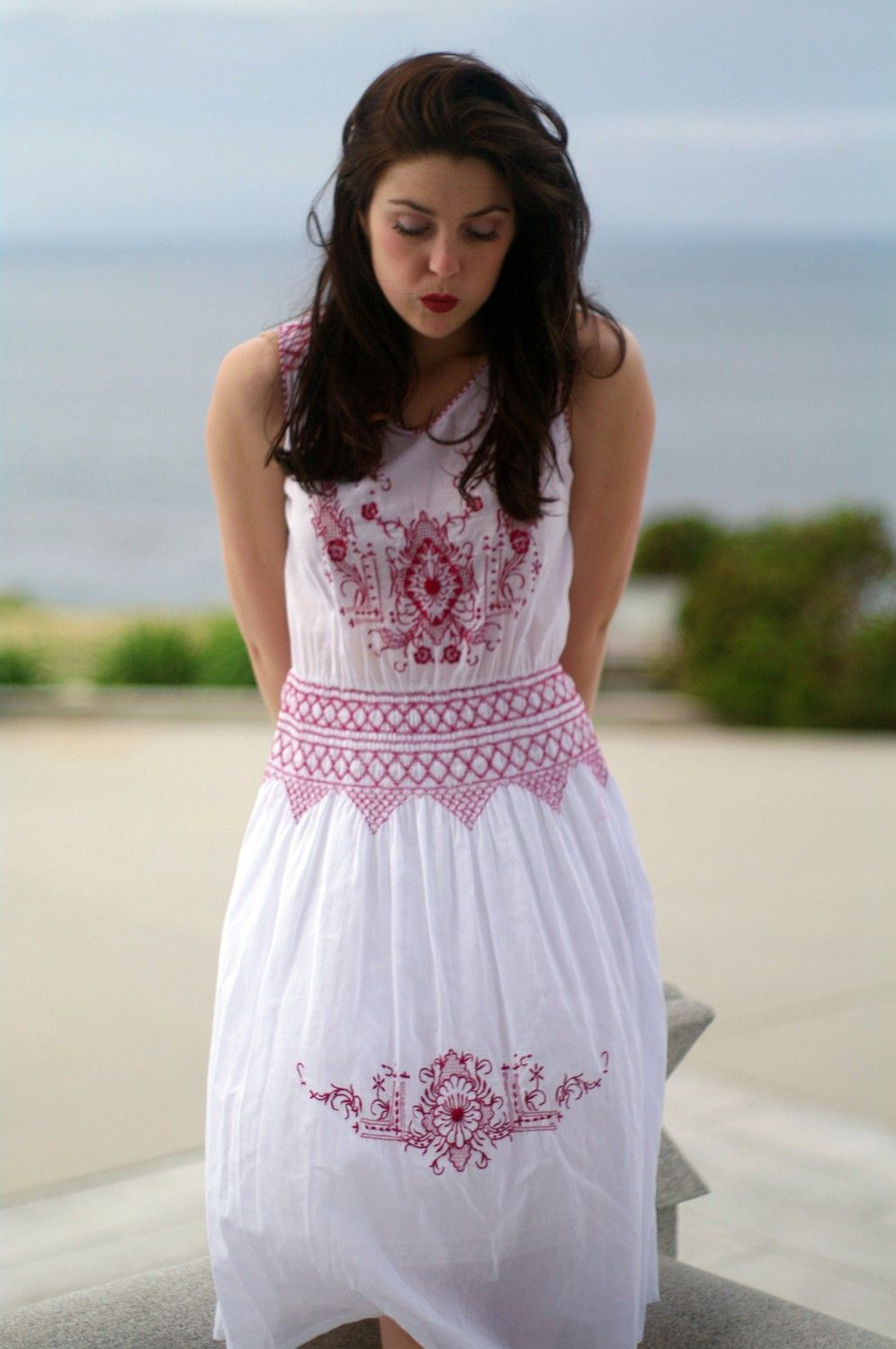 Red White 1920's Style Embroidered Peasant by CaliforniaBohemianCo
