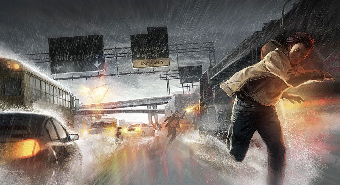 Highway Chase From Heavy Rain Illustration Artwork Gaming