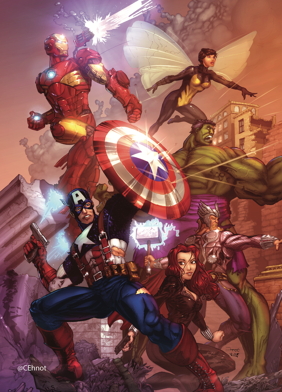 Avengers Group Colorworld By Chris Ehnot Cehnot Marvel Superheroes Avengers Superhero Comic