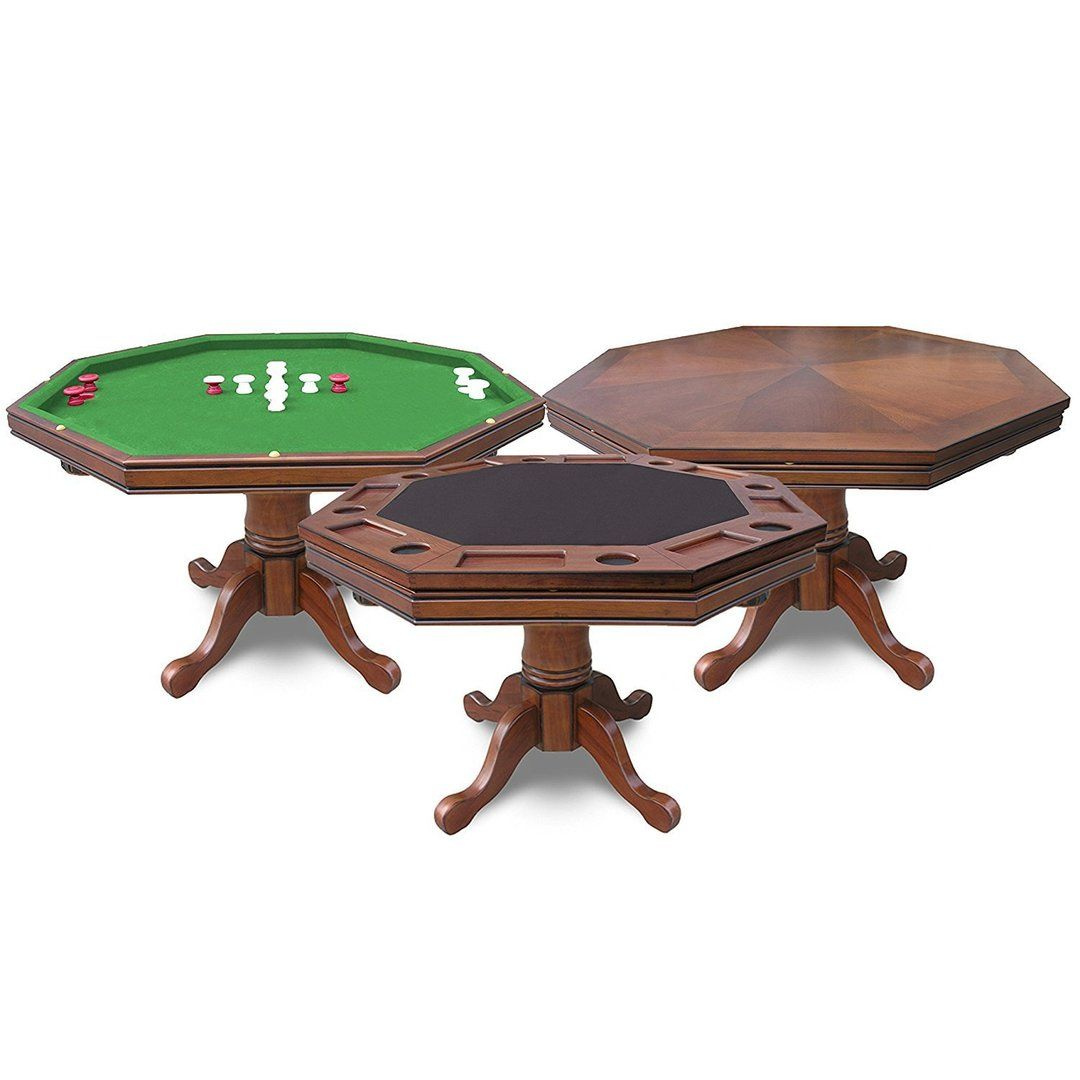 Hathaway Kingston Walnut Octagon 3 In 1 Poker Table Bumper Pool Table Bumper Pool Poker Table