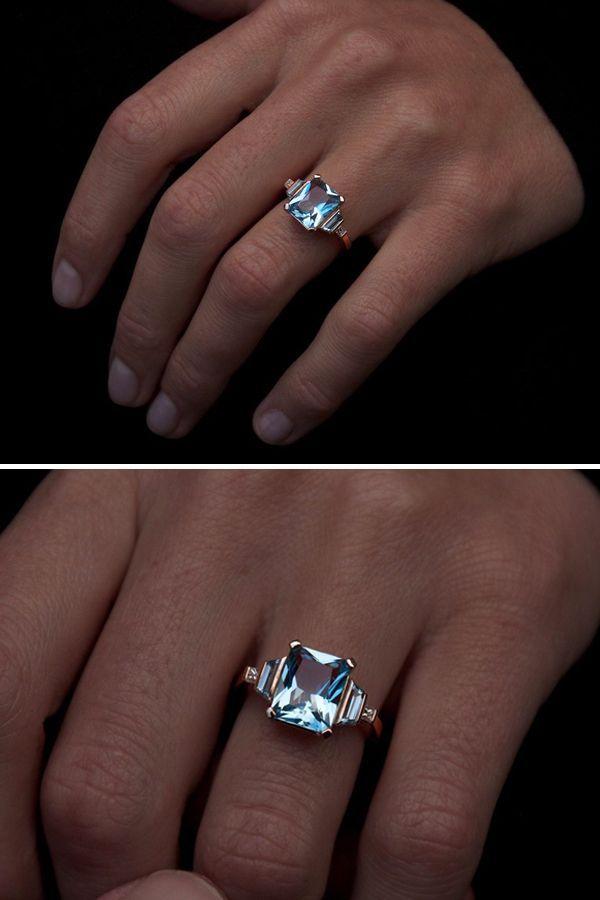Aquamarine & Diamond Engagement Ring - Moira Patience Fine Jewellery