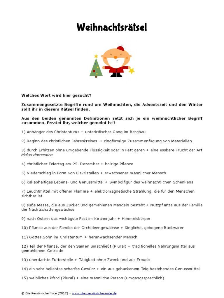 Weihnachtsrätsel: 24 Unterhaltsame Quizfragen Rund Um Das Weihnachtsfest   PDF