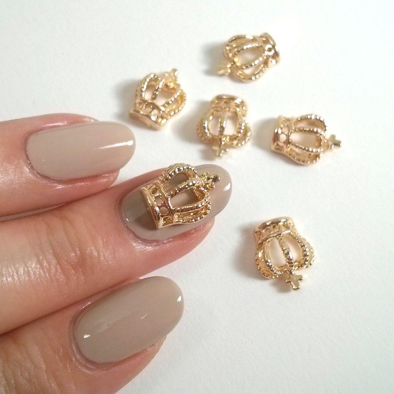 2 Pcs Gold Crown 3D Metallic Nail Charm / Jewelry   Pinterest   Nail ...