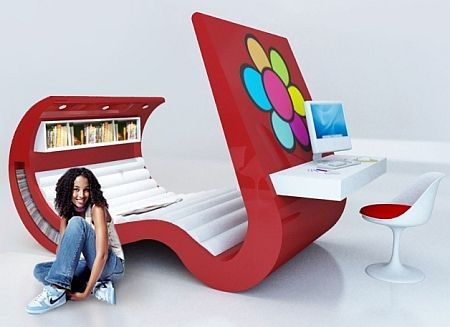 Hi-Tech Furniture With Built-In TV And Computer -- small spaces!!