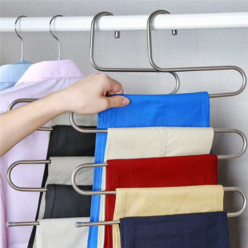 2 STK Kleiderb/ügel Hosenb/ügel Mehrfach Edelstahl Magic S-Type Platzsparend f/ür h/ängende Schal Jeans Hose