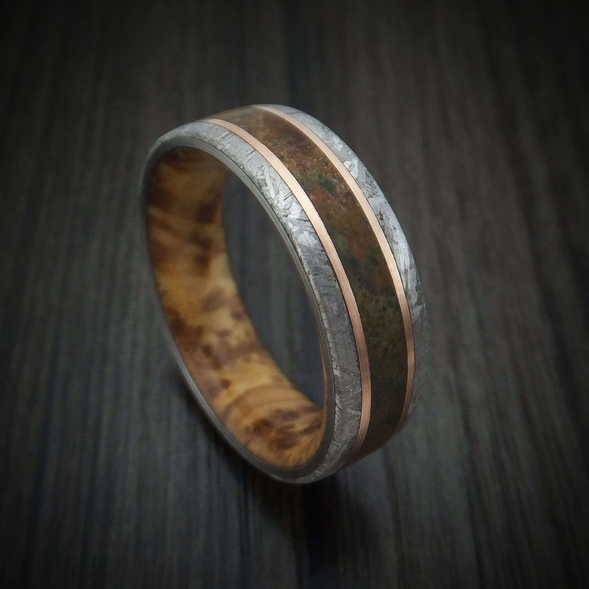 Gibeon Meteorite and Dinosaur Ring with 14k Rose Gold and