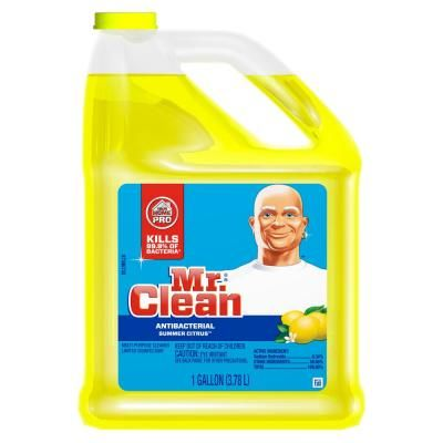 Mr Clean 128 Oz Multi Surfaces Antibacterial Liquid Cleaner Summer Citrus Scent 003700023123 The Home Depot In 2020 Antibacterial Cleaner Multipurpose Cleaner Fall Cleaning