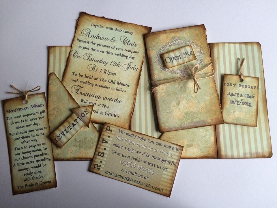 paper style wedding invitations%0A Scrapbook style pocketfold wedding invitation  all hand inked  Extremely  unique  https