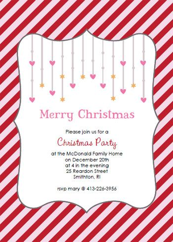 Printable pink and red Christmas party invitation templates - christmas dinner invitations templates free