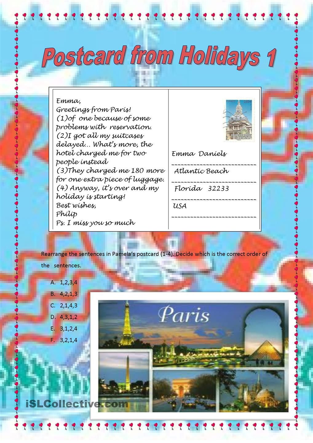 how to write a postcard in english
