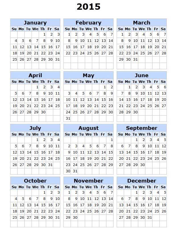 2015 Printable Calendar All Months | 2015 Calendar With Holidays